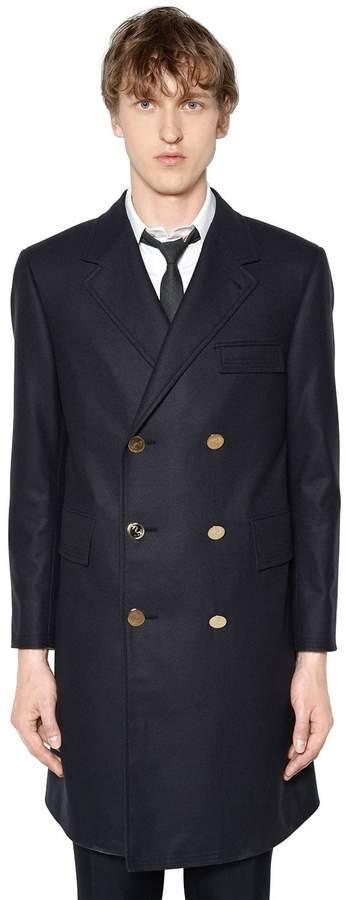Thom Browne Melton Wool Trench Coat W/ Back Belt