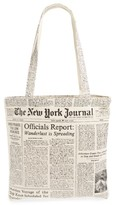 Kate Spade Newspaper Print Canvas Shopping Tote - Black