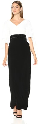 Adrianna Papell Women's V-Neck Jersey Dress with Long Sleeves
