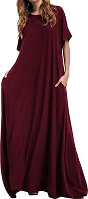 KIDSFORM Women Maxi Dress Short Sleeve Baggy Ball Gown Solid Pocket Summer Party Long Dresses Kaftan Wine Red Size XL/UK 16