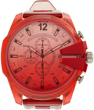 Diesel Mega Chief Chronograph Sport Strap Watch (Red-DZ4534) Watches