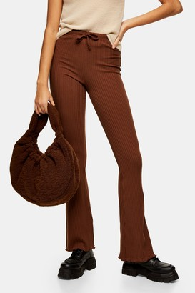 Topshop Womens Chocolate Brown Ribbed Pocket Flared Trousers - Chocolate