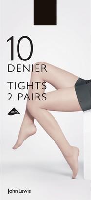 John Lewis & Partners 10 Denier Tights, XXL, Pack of 2