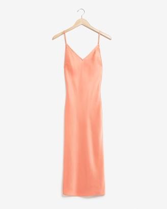 Express Satin V-Neck Midi Slip Dress