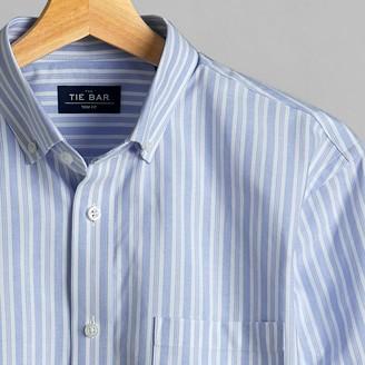 Tie Bar Oxford Vertical Stripe Sky Blue Casual Shirt