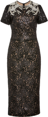 Pamella Roland Lace Dress With Floral Embroidery