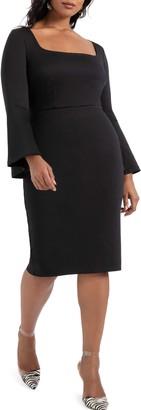 ELOQUII Long Sleeve Scuba Dress