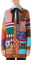 Gucci Patchwork Oversize Wool Cardigan, Multicolor