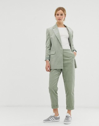 Asos Design DESIGN turn up tapered sage cord suit pants-Green