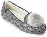 BearPaw Grey Shae Real Fur Pom-Pom Slippers