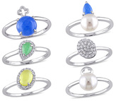 Zales Cultured Freshwater Pearl and Multi-Gemstone Stackable Six Ring Set in Sterling Silver