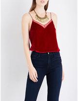 Free People Mesh-trim sleeveless velvet top