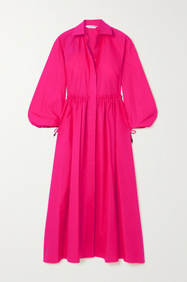 Max Mara Bairo Gathered Cotton-poplin Shirt Dress - Fuchsia