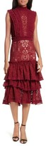 Jonathan Simkhai Women's Tower Mesh Lace Ruffled Dress