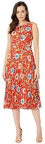 Donna Morgan Sleeveless Georgette Pleated Skirt Dress with Tie-Neck (Cherry Multi) Women's Clothing