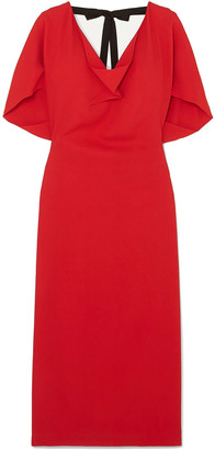 Roland Mouret Marianna Grosgrain-trimmed Draped Stretch-crepe Dress