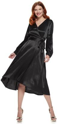 Nine West Women's Long Sleeve Midi Wrap Dress