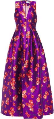 Sachin + Babi Flared Floral-print Satin-twill Gown