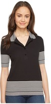Lacoste Short Sleeve Placed Stripe Honeycomb Polo Women's Clothing
