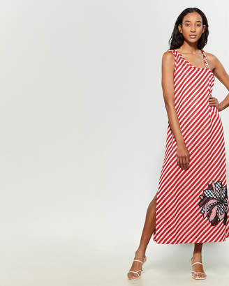 Save the Queen Striped Plaid Flower Maxi Dress