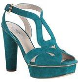 turquoise suede cutout platform sandals