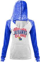 New Era Women's Kansas Jayhawks College Burnout Raglan Pullover Hoodie