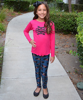 Beary Basics Pink 'Happy Halloween' Tunic & Bat Leggings - Toddler & Girls