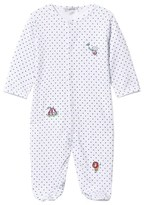 Kissy Kissy White and Navy Star Print and Embroidered Circus Babygrow