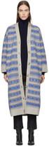 Stella McCartney Beige and Blue Striped Long V-neck Cardigan