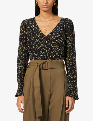 BA&SH Elsa floral-print relaxed-fit crepe blouse