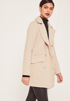 Missguided Nude Short Faux Wool Military Coat