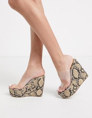 Public Desire Sabah heeled wedge sandal with clear upper in beige snake