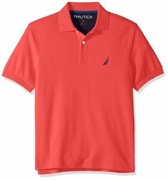 Nautica Men's Short Sleeve 100% Cotton Interlock Solid Polo Shirt