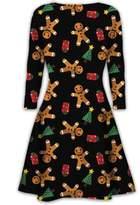 My Mix Trendz Kids Christmas Swing Dress Girls Gingerbread Reindeer Xmas Novelty Mini Dress