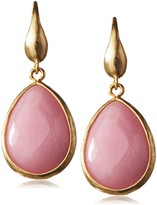 Kenneth Jay Lane Satin Gold-Tone and Rose Gold-Tone Small Teardrop Earring