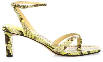 Alexandre Birman Nelly Square-Toe Neon Snakeskin Sandals