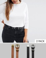 Asos 2 Pack Western Double And Single Buckle Waist And Hip Belt