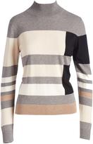 August Silk Gray & Beige Color Block Turtleneck
