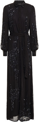 retrofete Embellished Georgette Maxi Shirt Dress