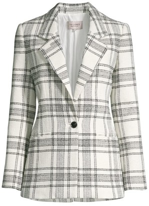 Rebecca Taylor Tailored Windowpane Plaid Tweed Jacket