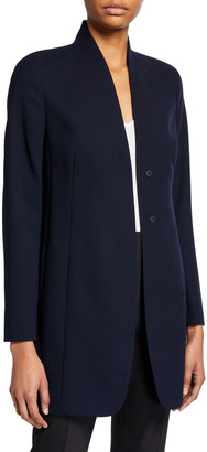 Akris Stretch Wool Collarless Blazer Jacket