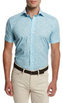Peter Millar Day Glow Short-Sleeve Sport Shirt, Turquoise