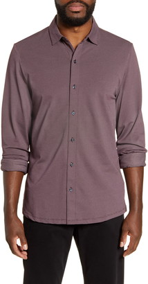 Robert Barakett Nelson Regular Fit Button-Up Knit Shirt