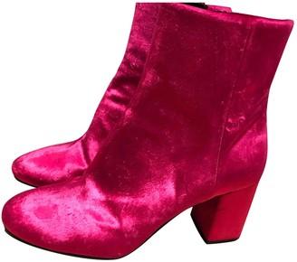 Balenciaga Pink Velvet Boots