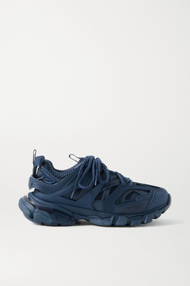 Balenciaga Track Logo-detailed Mesh And Rubber Sneakers - Navy