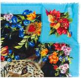 Dolce & Gabbana floral and leopard print scarf