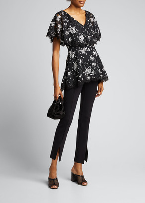 Lela Rose Floral Printed Corded Lace Capelet Top