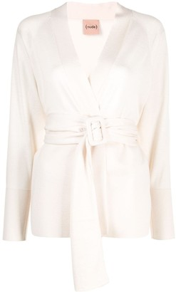 Nude Belted Slim-Fit Cardigan