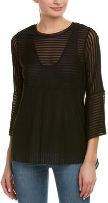 BCBGMAXAZRIA Women's Trishna Sheer Stripe Top