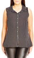 City Chic Plus Size Women's High/low Stripe Sleeveless Shirt